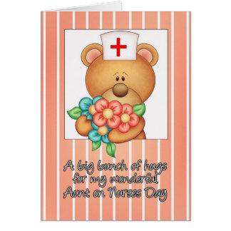 Aunt Nurses Day Card With Nurse Teddy Bear And Fl