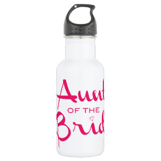 Aunt of Bride Hot Pink on White Water Bottle