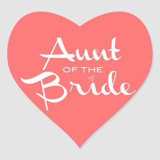 Aunt of Bride White on Peach Heart Stickers