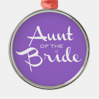 Aunt of Bride White on Purple Metal Ornament