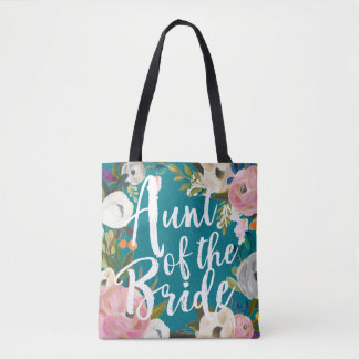 Aunt of the Bride Brushed Floral Wedding Tote