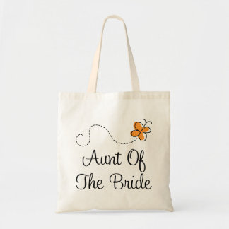 Aunt of the Bride Orange Butterfly Tote Bag