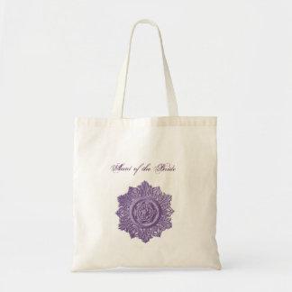 Aunt of the Bride PURPLE Vintage Ornate Element Budget Tote Bag