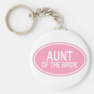 Aunt of the Bride Wedding Oval Pink Basic Round Button Keychain