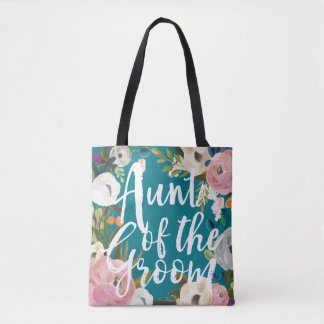 Aunt of the Groom Brushed Floral Wedding Tote