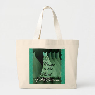 Aunt of the Groom Green Bridesmaid Dresses Large Tote Bag