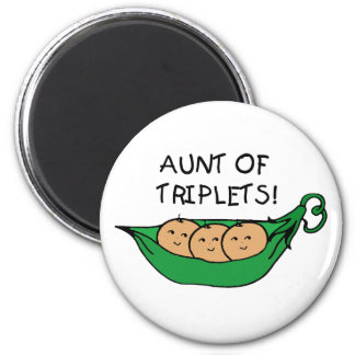 Aunt of Triplets Pod 2 Inch Round Magnet