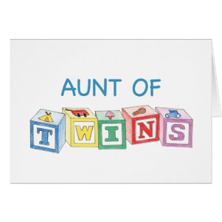 Aunt of Twins Blocks Cards
