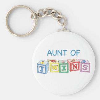 Aunt of Twins Blocks Keychains
