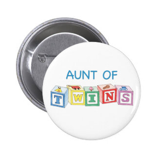 Aunt of Twins Blocks Pinback Button