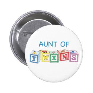 Aunt of Twins Blocks Pinback Button