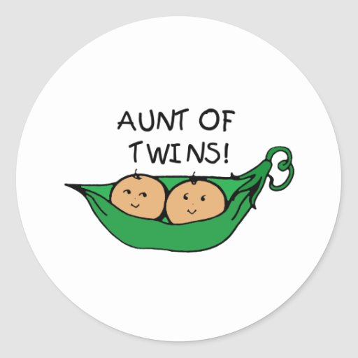 Aunt of Twins Pod Classic Round Sticker