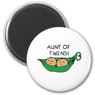 Aunt of Twins Pod Fridge Magnets