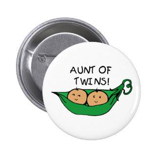 Aunt of Twins Pod Pinback Button