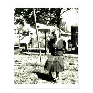 Aunt On Swings Postcard