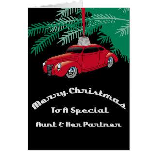 Aunt & Partner Red Hotrod Christmas Card
