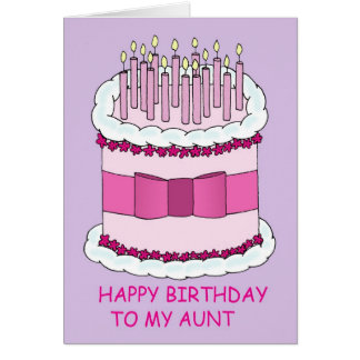 Aunt pink birthday cake greeting cards