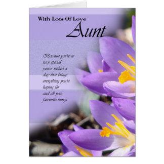 Aunt purple crocus Birthday Card