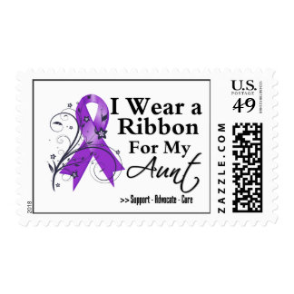 Aunt Purple Ribbon - Pancreatic Cancer Postage Stamps
