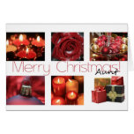 Aunt red, black & white Winter collage Greeting Card