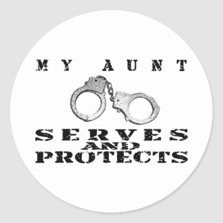 Aunt Serves Protects - Cuffs Classic Round Sticker