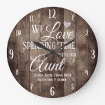 Aunt Spending Time with Custom Name Large Clock