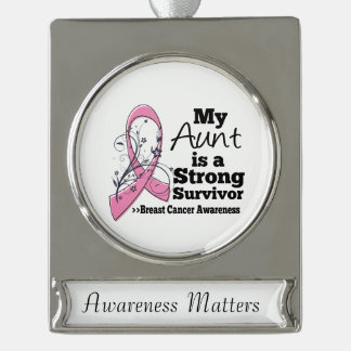 Aunt Strong Survivor Breast Cancer Silver Plated Banner Ornament