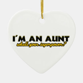 Aunt Superpower designs Double-Sided Heart Ceramic Christmas Ornament