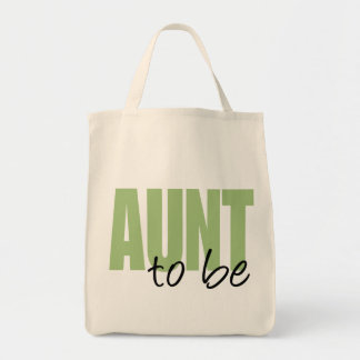 Aunt To Be (Green Block Font) Grocery Tote Bag
