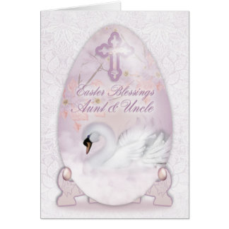 Aunt & Uncle, Easter Card With Decorated Egg, Swan