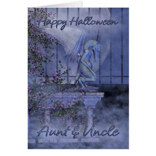 Aunt & Uncle Happy Halloween gargoyle Card