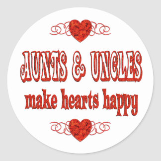 Aunt & Uncle Hearts Classic Round Sticker