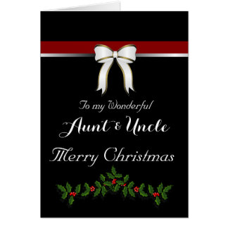 Aunt / Uncle Merry Christmas - Bow/ Holly on Black Greeting Card