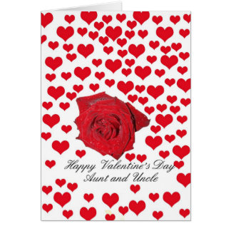 Aunt & Uncle Rose and hearts Valentine´s Day Greeting Card