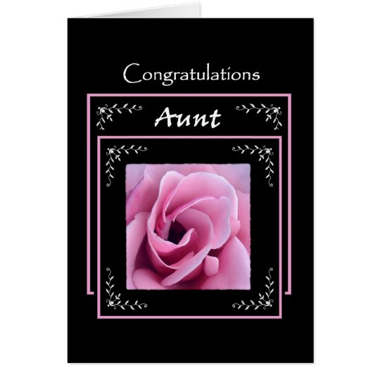 AUNT Wedding Congratulations - Pink Rose Card