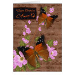 Aunt, with Flipper Butterfly On Pink Apple Blossom Cards