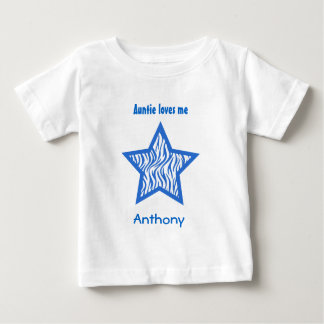 Auntie Loves Me with BLUE Zebra pattern BOY Baby T-Shirt