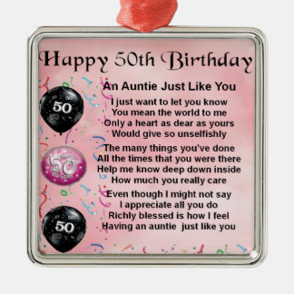 Auntie Poem - 50th Birthday Metal Ornament