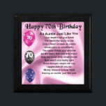 "Auntie Poem - 70th Birthday Keepsake Box<br><div class=""desc"">A great gift for a special auntie on her 70th birthday</div>"
