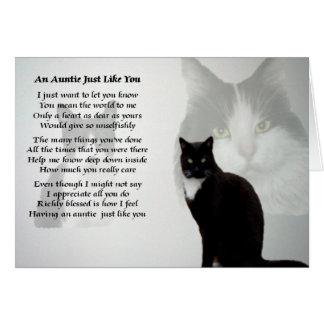Auntie Poem - Cat design Card