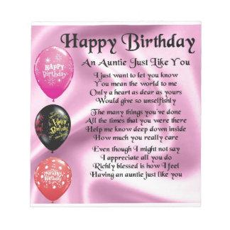 Auntie Poem -  Happy Birthday Notepad