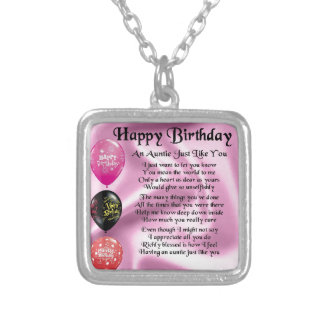 Auntie Poem -  Happy Birthday Silver Plated Necklace