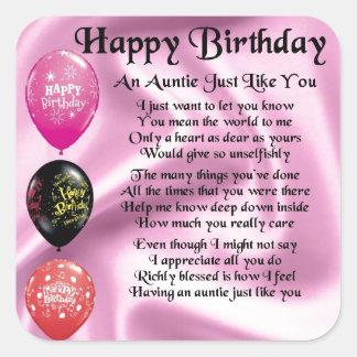 Auntie Poem -  Happy Birthday Square Sticker