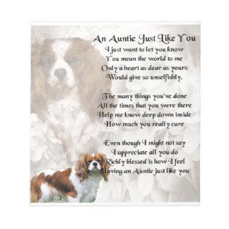 Auntie poem - King Charles Spaniel Notepad