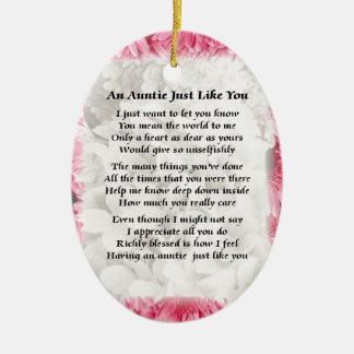 Auntie poem - Pink Floral design Ceramic Ornament