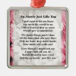 Auntie poem - Pink Floral design Metal Ornament