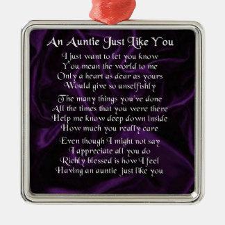 Auntie Poem - Purple Metal Ornament