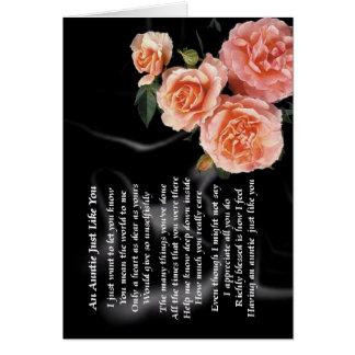 Auntie Poem - Roses on black silk Card