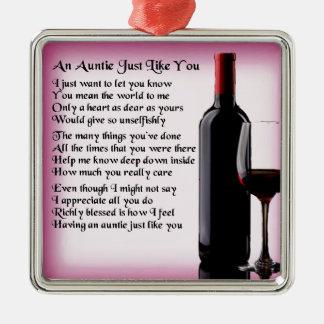 Auntie Poem - Wine Design Metal Ornament