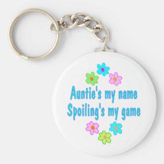 Auntie Spoils Basic Round Button Keychain